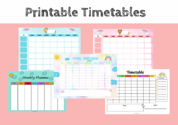 Weekly Timetable Template Worksheets Teaching Resources Tpt