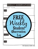 Free Printable Weekly Student Observation Log