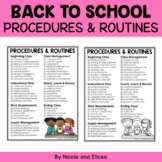Classroom Management - Procedures and Routines Checklist