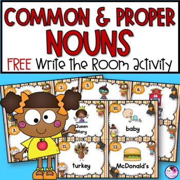 Free Proper and Common Noun Write the Room Fall Themed