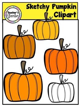 Free Pumpkin Clipart - Sketchy Pumpkins