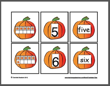 Free Pumpkin Math Cards - Numbers 1 to 10, Ten Frames, and Number Words