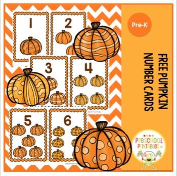 Free Pumpkin Number Cards 1-10