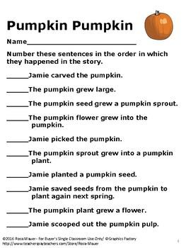 Free Pumpkin Pumpkin Sequence Activity