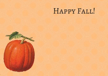 "Free Pumpkin notecard ""Happy Fall!"""