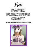Free Purple Porcupine Paper Craft