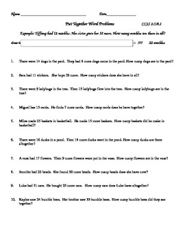 Free Put Together Word Problems