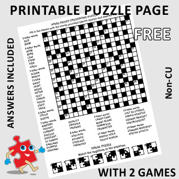 Free Puzzle Page with 2 Games, Non-Commercial Use