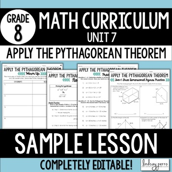 Free Pythagorean Theorem Lesson : 8th Grade Curriculum Sam