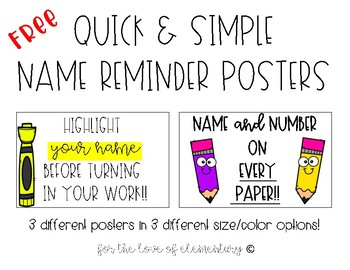 Free Quick and Simple Name Reminder Posters