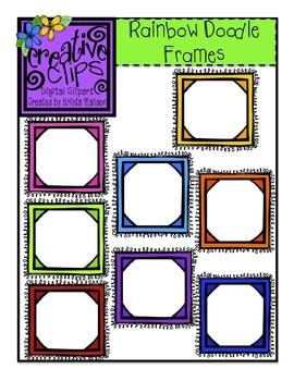 {Free} Rainbow Doodle Frames {Creative Clips Digital Clipart}