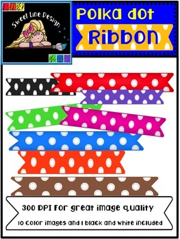 Free Rainbow Polka Dot Banner / Ribbons {Sweet Line Design Clipart}