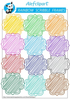 Free !!! Rainbow Scribble  Doodle Frames. Quatrefoil.
