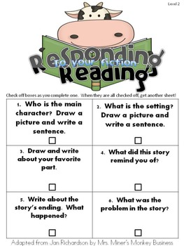 Free Reader's Notebook Entry for Fiction k/1 Readers
