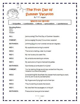 Free Readers' Theater Poem - Free Poetry: The First Day of Summer Vacation