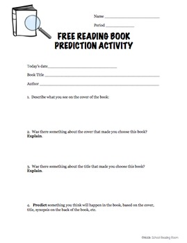 Free Reading Book Prediction Activity