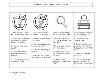 Free Reading Comprehension Bookmarks