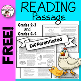 Free Reading Comprehension Passage 4th grade, 3rd grade, 5