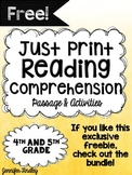 Free Reading Comprehension Passage and Activities 4th and 5th Grade {Just Print}