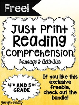 Free Reading Comprehension Passage and Activities 4th and