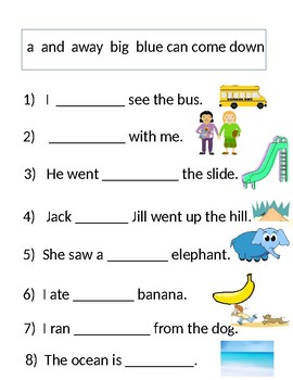Free Reading Comprehension Worksheet - Dolch Word Sentences