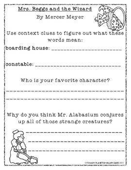 Free Reading Response for Mrs. Beggs and the Wizard (featured on my blog)!