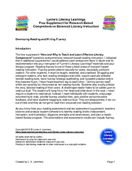 Free Reading and Writing Fluency Supplement for K-8th Teachers
