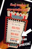 Free Red Box Teacher Appreciation Gift Tag Printable