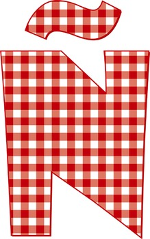 "Free Red Gingham Alphabet - 300 DPI, 5"" High, 66 Page PDF - 66 PNGs"