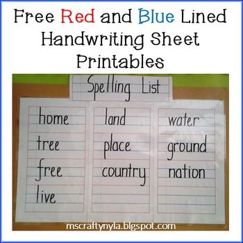 image regarding Red and Blue Lined Handwriting Paper Printable named No cost Crimson and Blue Included Handwriting Sheets