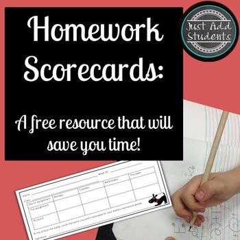 Free Resource:  Homework Scorecards