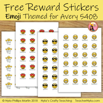 Free Emoji Reward Stickers for Avery 5408