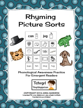 Free Rhyming Picture Sorting Center for Phonological Aware