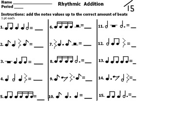 Free Rhythmic Addition Worksheet