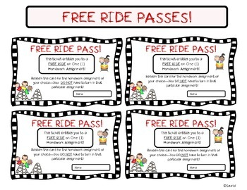 """""""Free Ride"""" Homework Passes! For Any Grade! Rollercoaster Theme!"""