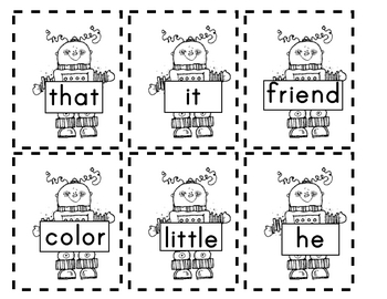 Free Robot Sight Words