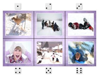 Speech & Language Activities- Winter Theme Roll It, Say It, Write It Freebie