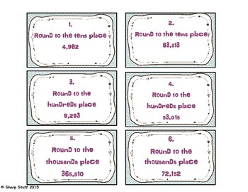 Free Rounding Whole Numbers Task Cards or Scoot