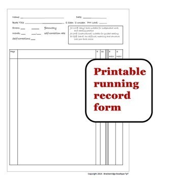 Free Running Record Template