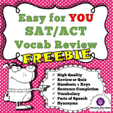 Free SAT ACT Practice Worksheets Vocabulary Parts of Speech 8 pages with keys