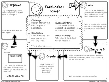 Free STEM Challenge: Basketball Tower by More Than a Worksheet | TpT