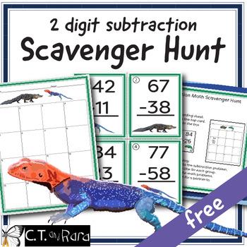 Free Sample * 2 Digit Subtraction Math Scavenger Hunt 2.NBT.B.5 3.NBT.A.2