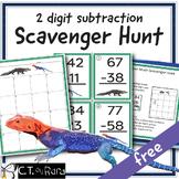 2 Digit Subtraction Math Scavenger Hunt FREE
