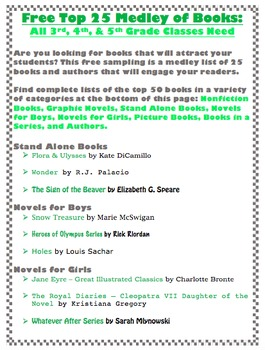 Free Sample: 25 Books That All 3rd, 4th, and 5th Grade Classrooms Need