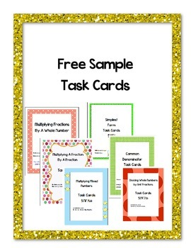 Free Sample 5th Grade Math Task Cards  Common Core Aligned