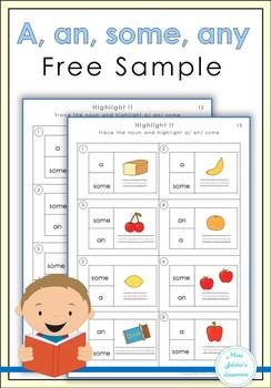 Free Sample A, an, some, any worksheets