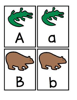 Free Sample - Animal Alphabet Playing Cards with Boardmaker Symbols