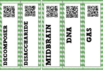 Free Sample - Biology Interactive Word Wall! - QR Code Vocab strips