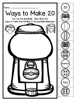 Free Sample-Bubble Gum-Ways To Make A Number 1-20 NO PREP Cut & Paste Printables