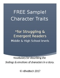 Free Sample! Character Traits Vocabulary